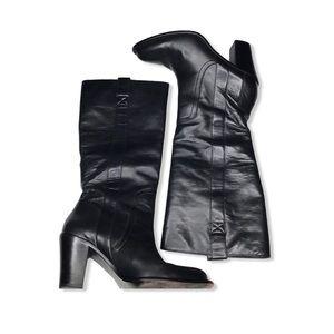 Banana Republic Tall Black Leather Heeled Boots
